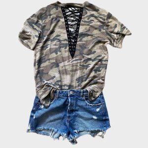 2/$30  Faded Camo Tee with Laces